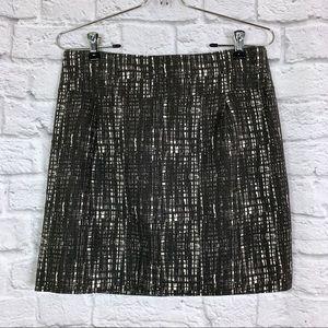 J. Crew Factory Mini Skirt 6 Black White Tweed